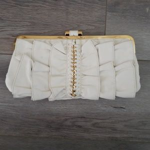 BEBE White and Gold Evening Clutch